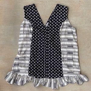 ASOS black cream tribal striped shift dress
